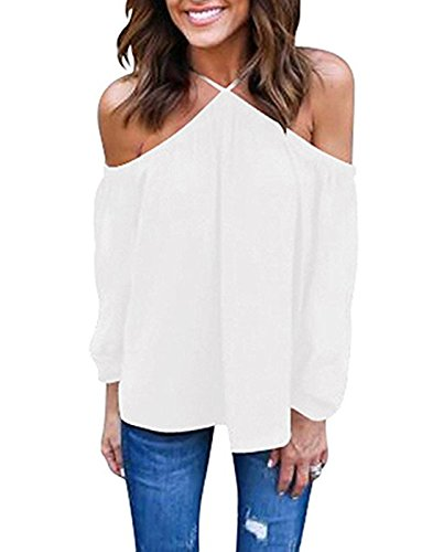 Vemvan Women's Spaghetti Halter Off The Shoulder Blouse Long Sleeve Shirt Tops White ()