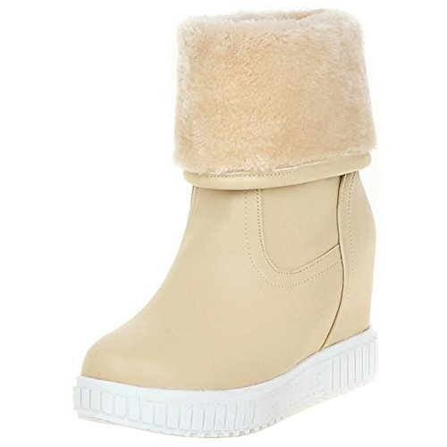 Beige Hidden Heel Verschluss Damen Ohne COOLCEPT Stiefel 5g6qOxwY