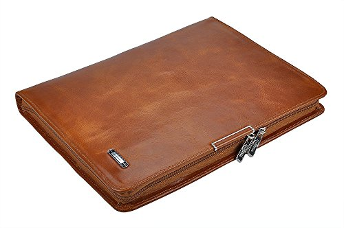 Genuine Leather and Suede Organizer Folio for Left-Hand or Right-Hand Use, for Letter Size Notepad,Brown by iCarryAlls