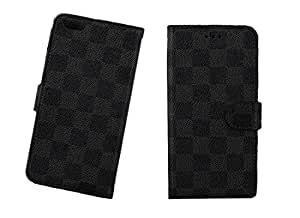 "Lattice Flip Stand Wallet Card Slot Leather Case Cover Skin For 5.5"" Apple iPhone 6 Smart (Black)"