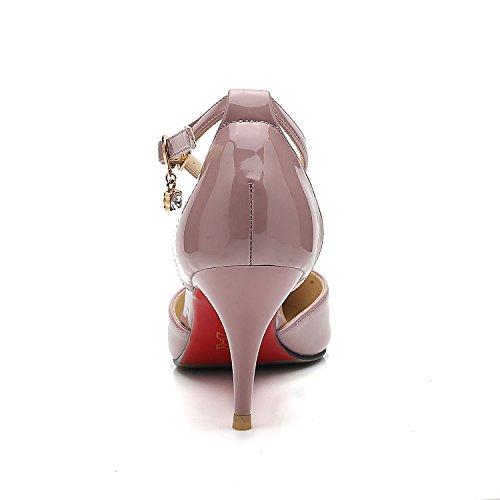 Púrpura Desnuda Ol Baotou Recorte Xiaoqi Acentuados La Color Hebilla Stilettos Coreanos Atractivo Hebillas De Femenino FB6q8Uxw