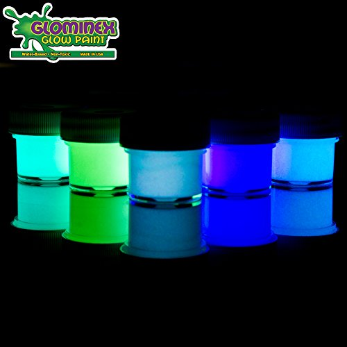 Glominex AT955 5 Packs, Assorted Ultra Glow in the Dark Paint, Glow Dark, Glow-in-the-dark Paint, Glow Paint]()