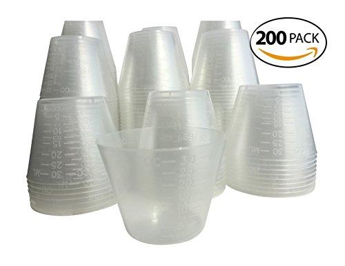200 Disposable Plastic Graduated Medicine Cups 1oz Bulk