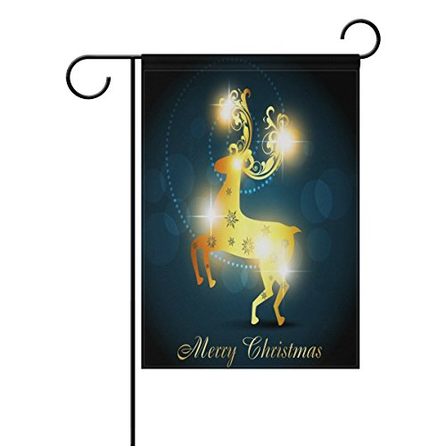 Decorative Flags for Outside Double Sided Welcome Garden Flag with Novelty Graphic Golden Glitter Christmas Elk for Yard Flags Outdoor Flags (Glitter Christmas Graphics)