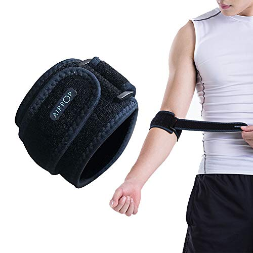AIRPOP Adjustable Elbow Brace Support Strap with Compression Pad for Arthritis and Tennis & Golfers Elbow Pain Relief, Tendonitis, Sports Injury Recovery, Men & Women]()