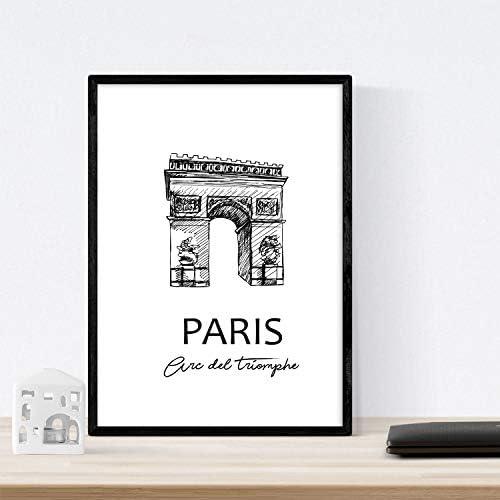 Nacnic Poster de Paris -Arco del Triunfo. Láminas con monumentos ...