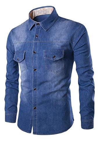 De Hommes Black À Pour Chemises Kangqi En Longues Manches Vêtements Denim w1aqvEz