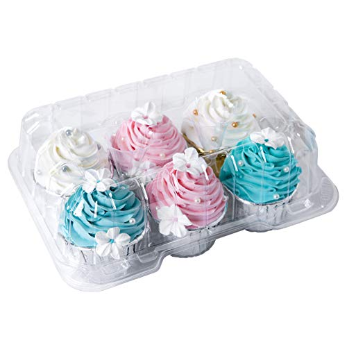 Clear Cupcake Boxes 6 Cavity Holder,ONE MORE Large 6 Compartment Muffin Containers Plastic Cupcake Carrier with Deep Dome 4