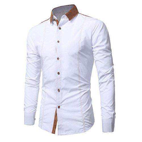 Kaiki Hommes Chemise Style De Mode Homme Couleur Unie Occasionnels Blanc Chemise Patchwork Manches Longues