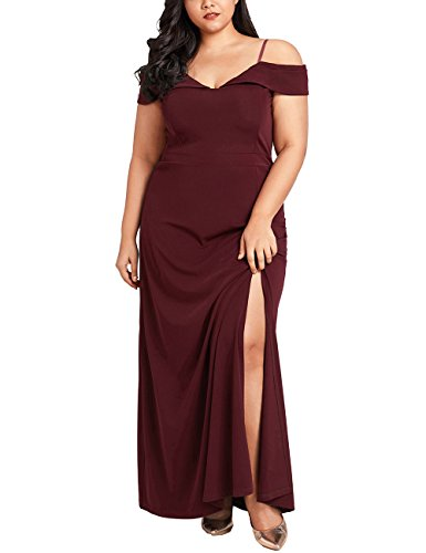 Lookbook Store Women's Plus Size Off Shoulder Side Slit Evening Gown Maxi Dress Port Size XX-Large (Fit US 18 - US 20)