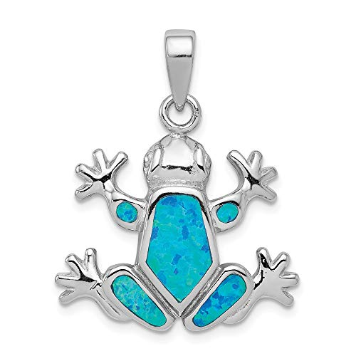 Kong Cat Frog - 925 Sterling Silver Blue Inlay Created Opal Frogpendant Charm Necklace Pendant Animal Frog Fine Jewelry Gifts For Women For Her