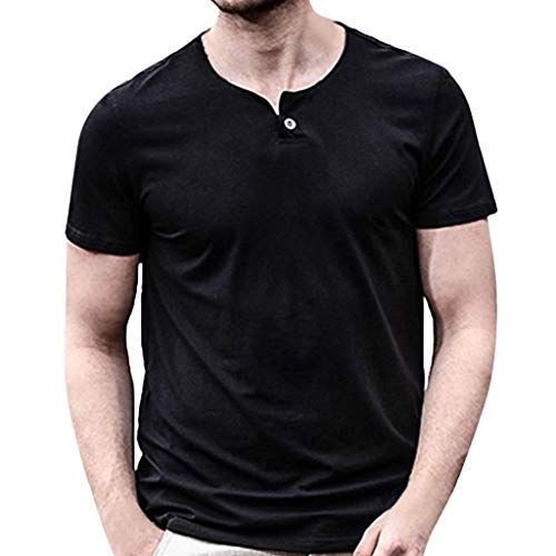 Men's Casual Slim Fit Pure Color Solid Short Sleeve Fashion O-Neck Tops Blouse T-Shirts Black