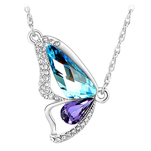 Le Premium Butterfly Breaking Cocoon Necklace MADE WITH SWAROVSKI ELEMENTS Aquamarine+Tanzanite