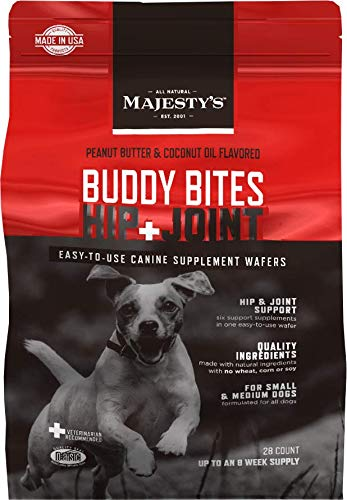 Majesty's Buddy Bites Hip and Joint Supplement for Small and Medium Dogs - Peanut Butter and Coconut Oil Flavored - 28 Count Bag ()