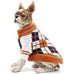 Scheppend Dog Pullover Jumpers Sweater Knit Pet Argyle Turtleneck Knitwear Winter Warm Coat, Orange M