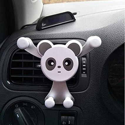 Hosaire 1pc Support De T/él/éphone De Voiture Cr/éatif Support De T/él/éphone Portable Encliquetable pour Sortie dair De Voiture Support De T/él/éphone De Style Panda Mignon Blanc Argent