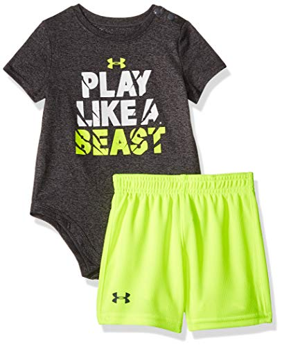 Under Armour Baby Boys Bodysuit OR Infant Tee/Tank Short Set, Pitch Gray S19, 3/6M