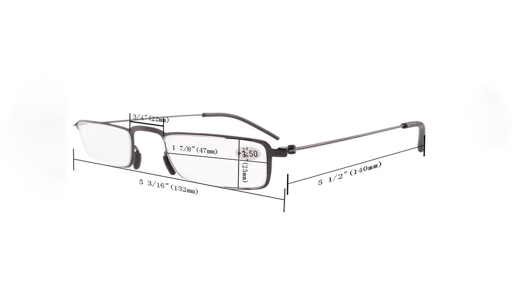 2f64b17527 Eyekepper 5-Pack Straight Thin Stamped Metal Frame Half-eye Style Reading  Glasses Readers Gunmetal +1.5  Amazon.co.uk  Health   Personal Care