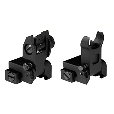 NEW Premium Military, Flip Up, Folding, Front and Rear Iron Sights Tactical Set for Picatinny / Weaver Rails Flattop by AR15 Tactical