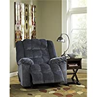 Ludden 8110525 40 Rocker Recliner with Plush Pillow Top Arms Supportive Divided Back Cushion and Side Handle To Activate Reclining Mechanism in Blue