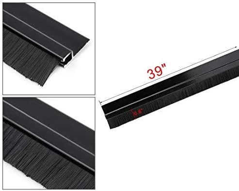 Bottom door sweep H-shaped aluminum alloy base with 0.6 inch black nylon brush 39 inches x 1.4 inches