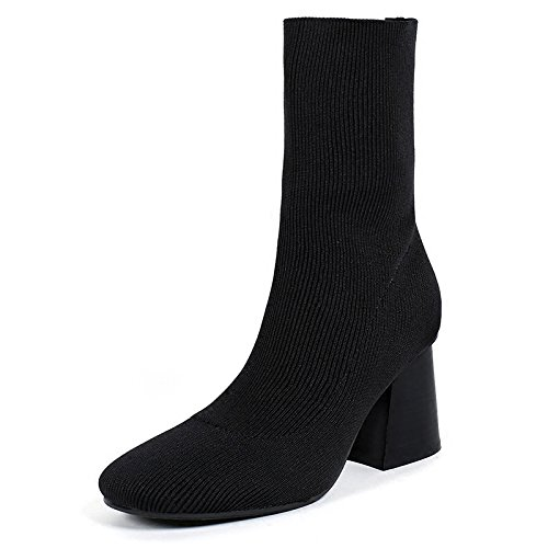 Heeled High Korean The KHSKX Knitted The Shoes Winter Black Stovepipe And Socks Coarse New Boots Elastic With Boots With Boots Cloth ZEaww1q