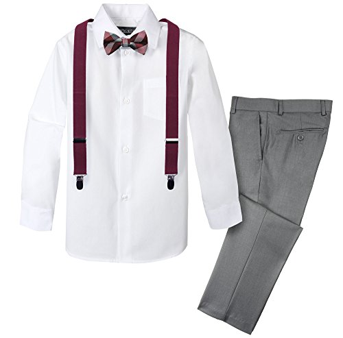 Spring Notion Boys' 4-Piece Patterned Dress up Pants Set 10 Grey/Burgundy