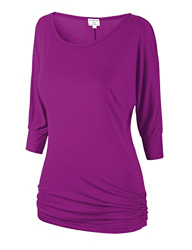 Match Women's 3/4 Sleeve Drape Top with Side Shirring (140 Purplish red,XX-Large)