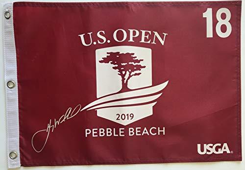 Gary Woodland signed 2019 U.S. open golf flag Red pebble beach pin flag pga