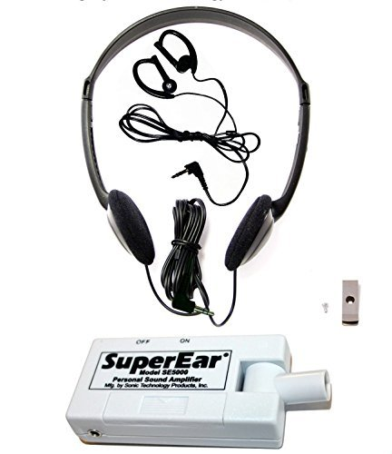 SuperEar Sonic Ear Personal Sound Amplifier Model SE5000 Increases Ambient Sound Gain 50dB, facilitates CMS MDS 3.0/ADA/ACA Section 1557 Auxiliary Aid Compliance (Clear Personal Sound Amplifier)