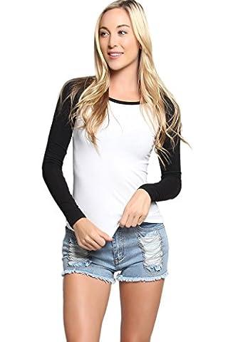 TheMogan Women's Ladies Baseball Raglan Long Sleeve T-Shirt - Black - S - Long Sleeve Raglan Baseball