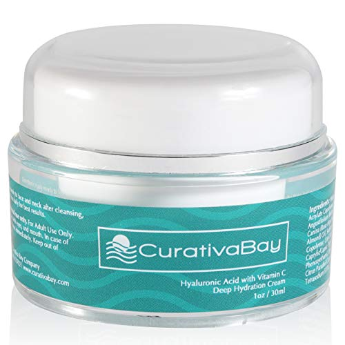 Curativa Bay Hyaluronic Acid Cream - Anti-Aging Moisturizing Face Serum - Natural Facial Moisturizer with Willowherb, Rose Hips, Vitamin C E for Dry, Sensitive Skin - Reduces Wrinkles and Fine Lines