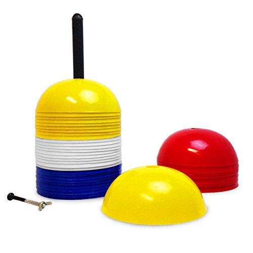 Large Dome Cone Field Markers (Set of 40) with Carry Handle- Training Cones (Cone Set Dome)