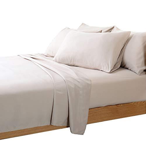 Cheer Collection 6 Piece Silky Soft Luxurious Comfortable Queen Bed Sheet Set - Light Sand ()
