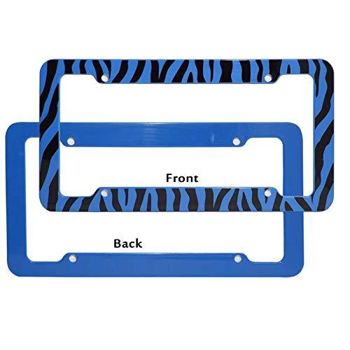 Motorup America Auto License Plate Frame Cover 2-Pack - Fits Select Vehicles Car Truck Van SUV - Wild Blue Zebra Print