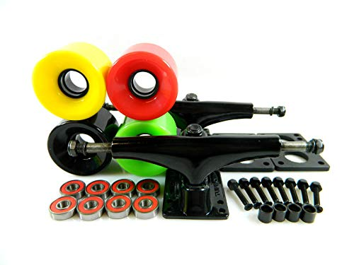 Rasta Turbo 5.25 Blk Skateboard Trucks + 65Mm Cruiser Wheels ABEC 7 Bearings Riser Pad