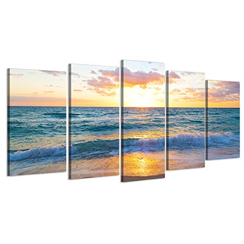 Visual Art Decor 5 Pieces Sea Canvas Wall Art Sunrise Over The Ocean in Miami Beach, Florida Picture Prints Home Large Living Room Office Decoration Ready to Hang (01 Sunrise) (Best Sunset In Miami)