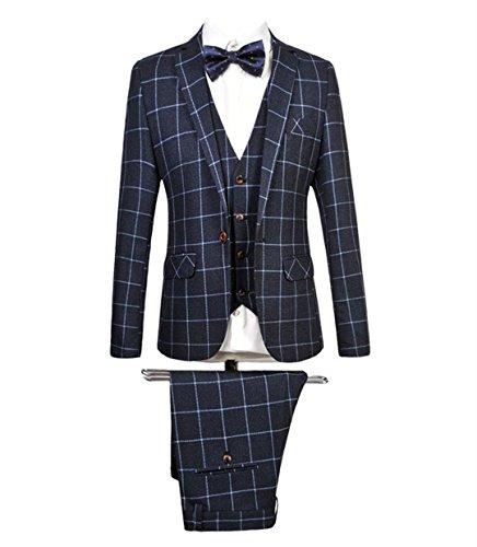MOGU Mens Blazer Jacket Tux Vest & Trousers 3 Piece Suit US Size 40(Tag Asian Size 4XL) ()