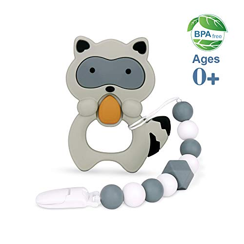 moopok Baby Teething Toys, Teething Pain Relief, Silicone Teether with Pacifier Clip Natural BPA Free Raccoon for Freezer - Best Newborn Shower Gifts for Trendy Boy or Girl (Black) (Organic Boy Toys Baby)