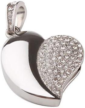 Quace Silver Heart Cool Fancy USB Flash 16  GB Pen Drive Pen Drives