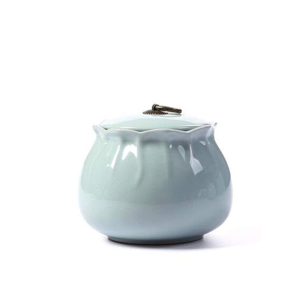 bluee Zhongyue Pet Casket, Close Relatives and Dear Pet Crematorium, Elite Souvenirs 5.2 Inches in Diameter (Ceramic Kiln Light Green) Cat and Dog Casket (color   bluee)