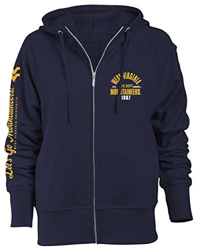 NCAA West Virginia Mountaineers Slouch Fit Full Zip Hood, Navy, Medium