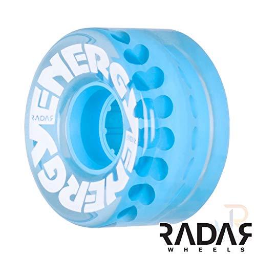 Radar Wheels - Energy 57 - Roller Skate Wheels - 4 Pack of 78A 31mm x 57mm Quad Skate Wheels   Clear Blue