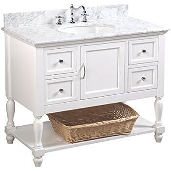 Beverly 42 Inch Bathroom Vanity Carrara White Includes Authentic Italian Carrara Marble