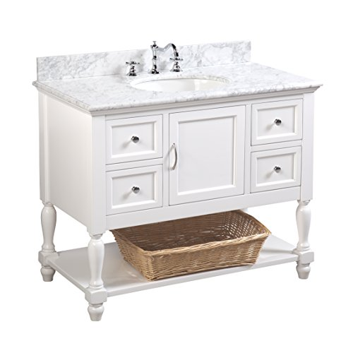 Beverly 42-inch Bathroom Vanity (Carrara/White): Includes Authentic Italian Carrara Marble Countertop, White Cabinet with Soft Close Drawers, and White Ceramic - Carrara Marble Vanity White Top