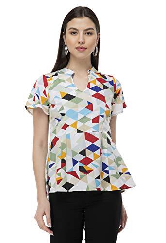 Winkcart Casual Short Sleeve Geometric Print Women Multicolor Top