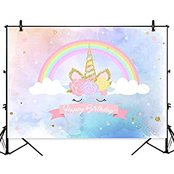Allenjoy 7x5ft Polyester Magical Rainbow Unicorn Birthday Party Backdrops Flowers Golden Horn Watercolor Photography Background Girls Dessert Table Banner Baby Photo Booth Decorations
