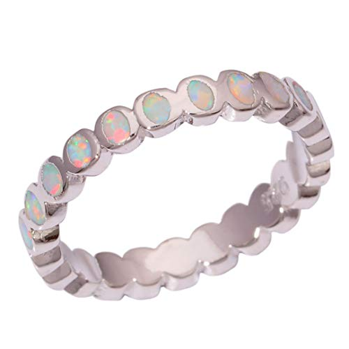 MARRLY.H Created White Fire Opal Silver Plated Style for Fashion Wedding Women Jewelry Ring 8
