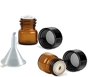 72 1/4 dram AMBER Glass Essential Oil Bottles Vials w/ Caps, Funnel and Labels