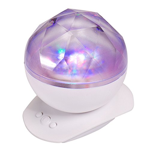 Noiey Aurora Projector Night Light Color Changing LED Lamp with Music Player for Baby and Adults Bedroom,Living Room Nursery Decorative Light,Kids Starry Galaxy Relaxing Light Show (White)
